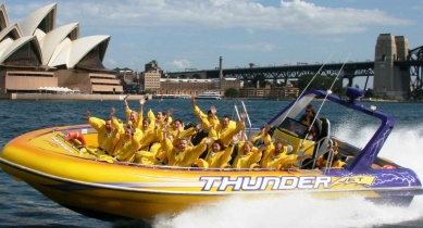 Try the Thunder Twist Ride jet boat ride at Circular Quay